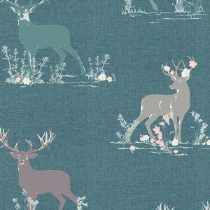 Art Gallery Blithe Dear Deer Teal Knit