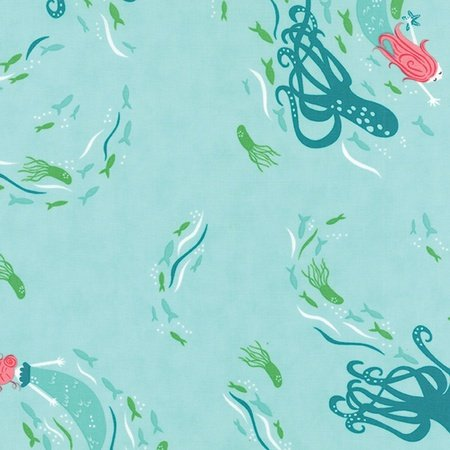 Stacy Iest Hsu - Coral Queenof the Sea Above Sea View in Aqua