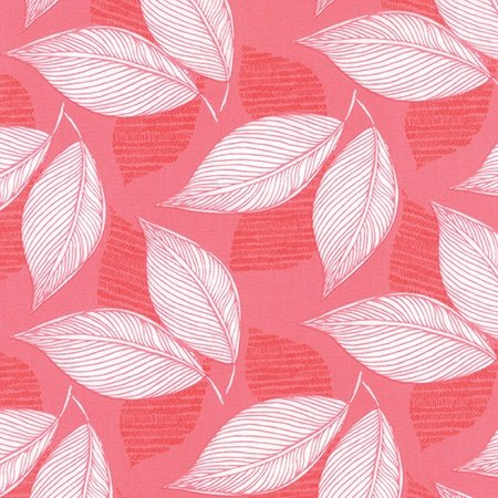 Kate Spain Aria - Leaflet in Bergonia - Coral Fabric