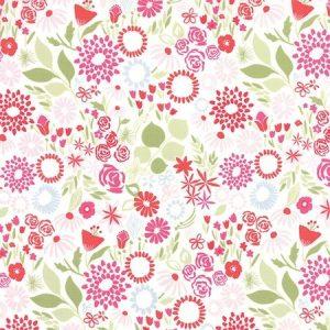 Kate Spain Aria - Mariposa in Multi Bergonia - White Floral Fabric