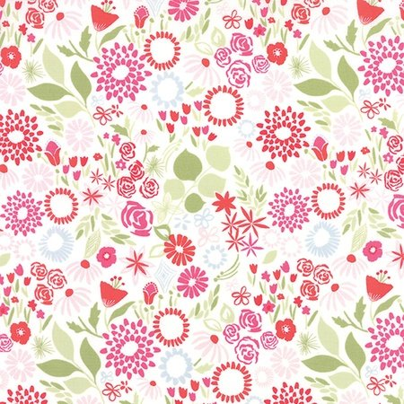 Kate Spain Aria - Mariposa in Multi Bergonia - White Floral Fabric
