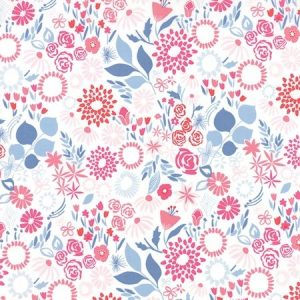 Kate Spain Aria - Mariposa in Multi Water - White Floral Fabric