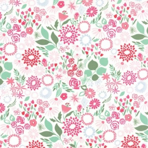 Kate Spain Aria - Mariposa in Multi Rose - White Floral Fabric