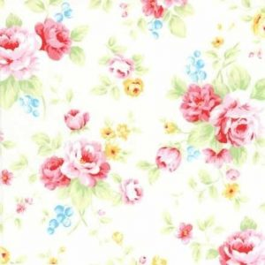 Lecien Antique Flower in Pastel Large Floral in White