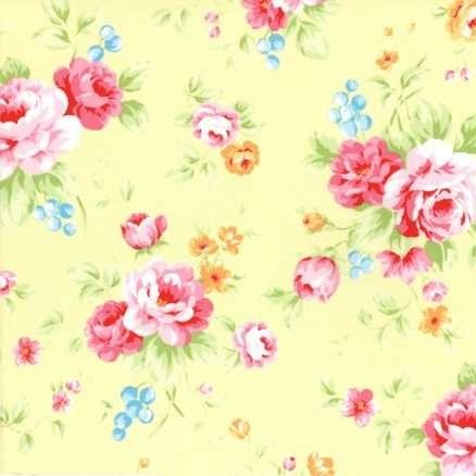 Lecien Antique Flower in Pastel Large Floral in Yellow
