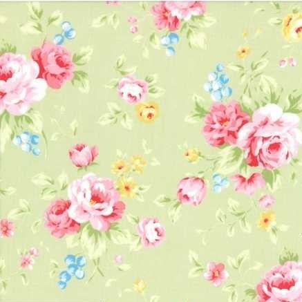 Lecien Antique Flower in Pastel Large Floral in Green