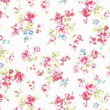 Lecien Antique Flower in Pastel Medium Floral in White