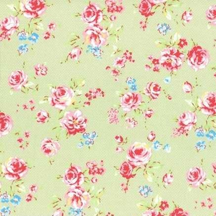 Lecien Antique Flower in Pastel Medium Floral in Green