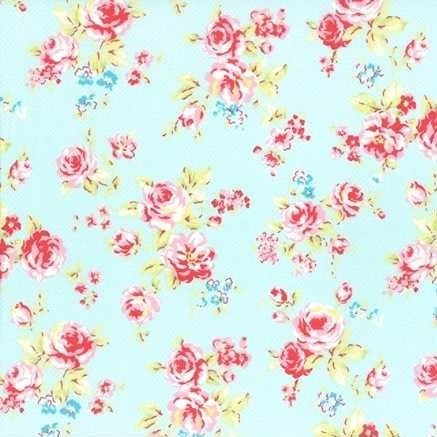 Lecien Antique Flower in Pastel Medium Floral in Blue