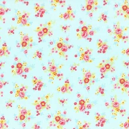 Lecien Antique Flower in Pastel Small Floral in Blue