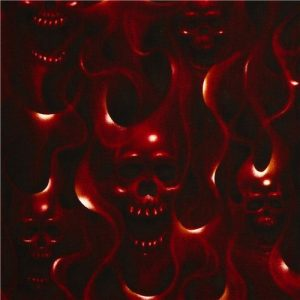 Alexander Henry Nicole's Prints Skulls on Fire in Red