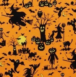 Alexander Henry Haunted House Boo-ville Silhouette Orange