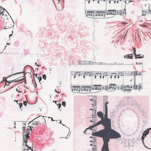 Timeless Treasures Ballet - Ballet Toile in Pink