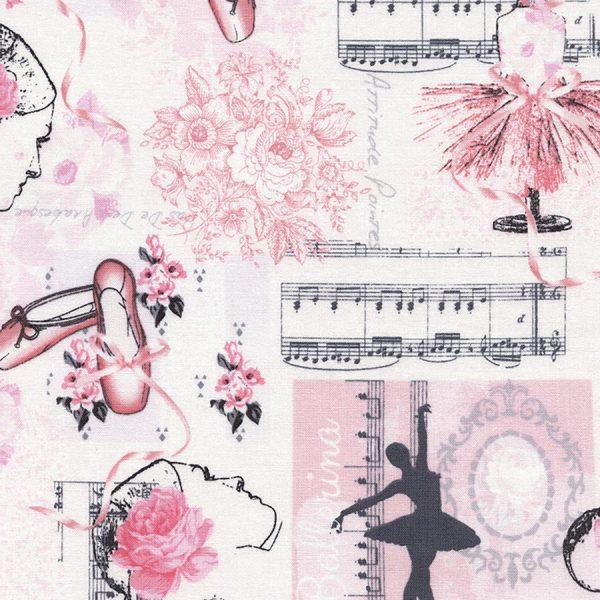 Timeless Treasures Ballet - Ballet Toile in Pink
