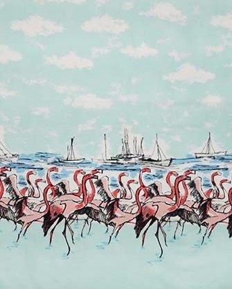 Michael Miller Flamingo Boarder Print in Seafoam