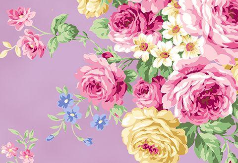 Quilt Gate RuRu Bouquet Tea Party - Large Floral in Lavander