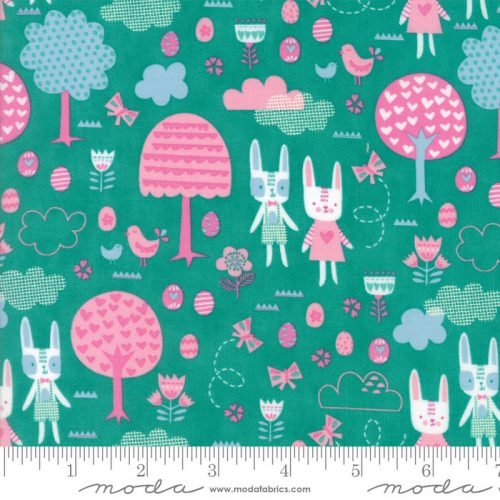 Moda Spring Bunny Fun - The Great Hunt in Turquoise