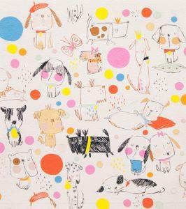Alexander Henry - Monkey Bizness - Puppy Polka Dot in Natural