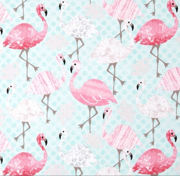 Timeless Treasures - Flamingo Dot in Aqua