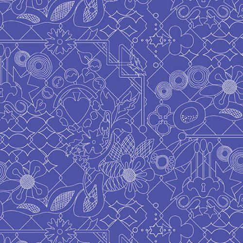 Alison Glass Sun Print 2017 - Overgrown in Sapphire