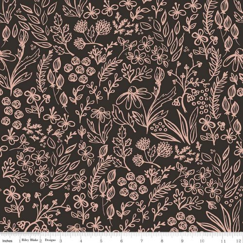 Riley Blake Yes Please Main Floral Rose Gold and Black Metallic sc6550-rosegold