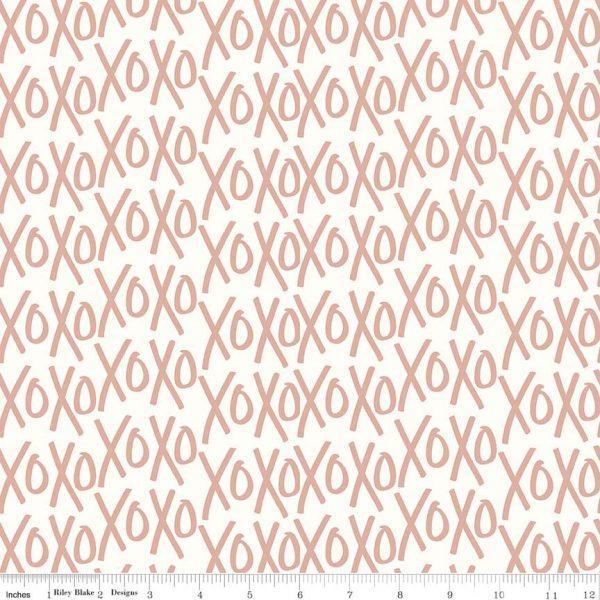 Riley Blake - Yes Please XO Cream with Rose Gold Metallic sc6552-cream