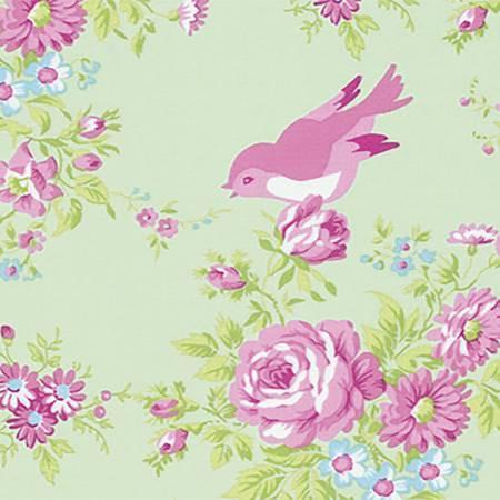 Free Spirit - Tanya Whelan Zoeys Garden - Zoey Birdie Green PWTW116.GRN