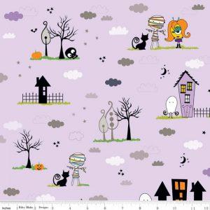 Riley Blake - Too Cute too spook main purple
