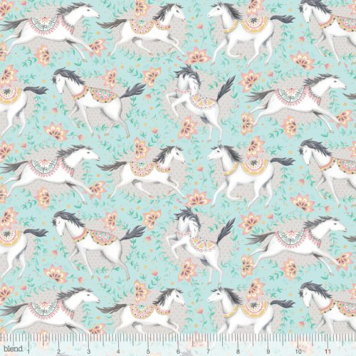 Blend Fabric Ana Davis Hill & Dale Fillies Aqua 113.113.01.2