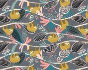 Blend Fabric Katy Tanis Rainforest Slumber Lazing Sloth Pink 124.105.01.1