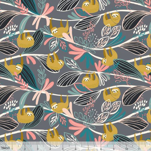 Blend Fabric Katy Tanis Rainforest Slumber Lazing Sloth Pink 124.105.01.1