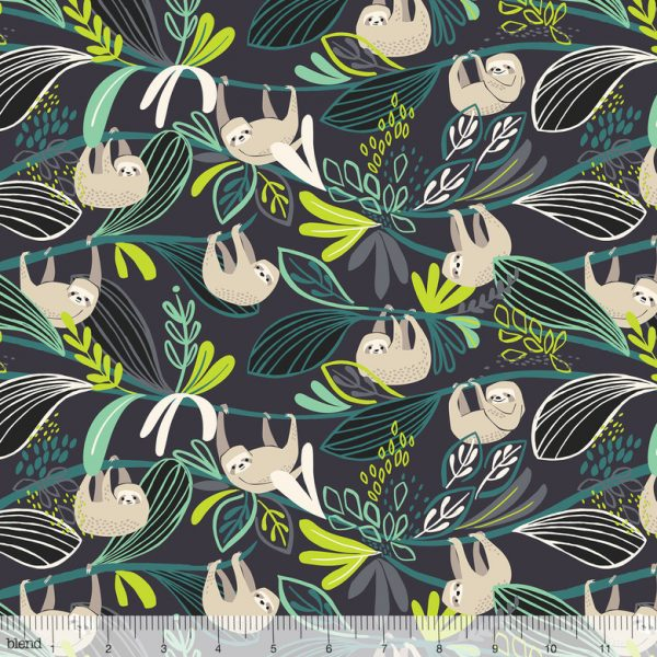 Blend Fabric Katy Tanis Rainforest Slumber Lazing Sloth Green 124.105.01.2