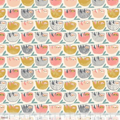 Blend Fabric Katy Tanis Rainforest Slumber Slumber of Sloths Pink 124.105.03.1