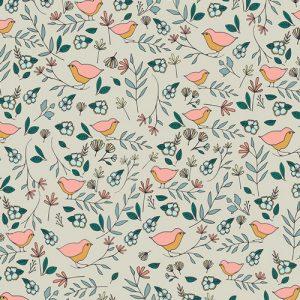 Art Gallery Fabric Maureen Cracknell - Love Story Lovebirds Celeste KNIT K-38809