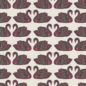 Art Gallery Fabric - Jessica Swift Tallinn Baltic Swans Sand KNIT K-75304