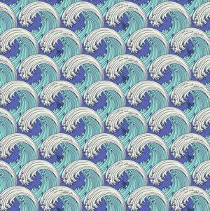 Tula Pink Zuma White Caps Aquamarine PWTP122.AQUA - Fabric Australia