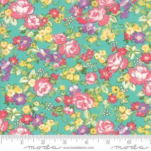 Moda Regent Street Lawn 2018 Hampton Court Turquoise M33322-14 - Lawn Fabric Australia