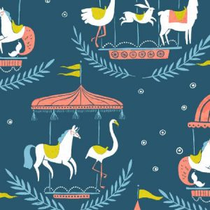 Dear Stella Seaside Carnival Carnival Animals Moonlight SRR930 - Quilting Fabric Australia