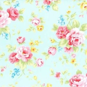 Lecien Antique Flower Pastel Large Floral Aqua 31420-70